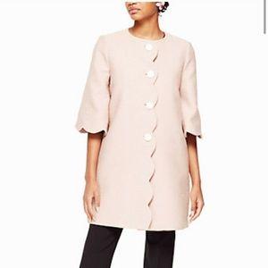 KATE SPADE scallop tweed coat blush pink sz 16 XL